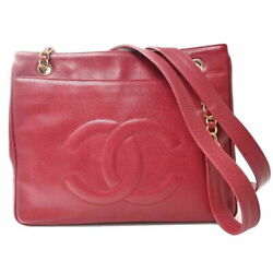 Caviar Skin Coco Mark Chain Tote Bag Red Brand Previously Owned No.7591