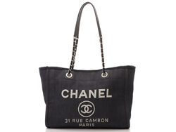 Deauville Mm Navy Silver Fittings Denim Razor A67001 Tote Bag No.7643