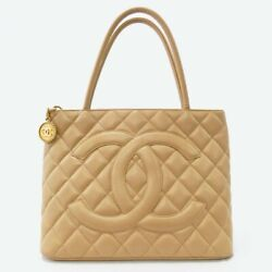 Sale Reprint Tote Bag Beige Gold Fittings Quilting Caviar Skin No.7680