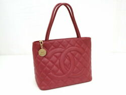 Reprint Tote Bag Caviar Skin Red Gold Fittings A01804 Previously No.7939