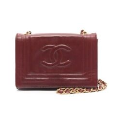 Authentic Coco Mark Chain Shoulder Bag Lambskin Free Shipping No.7874