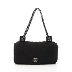 Authentic Coco Mark Chain Shoulder Bag Fabric Black Free Shipping No.7873