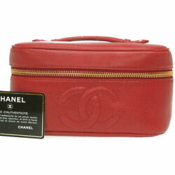 Sale  Caviar Skin Vanity Bag A01997 Red 0100 Previously Owned No.8440