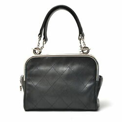 Authentic Coco Mark Handbag Lambskin Black Previously Owned No.9253