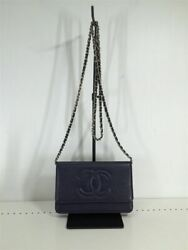Previously Owned Chain Wallet Shoulder Bag Caviar Skin Coco Mark No.9358