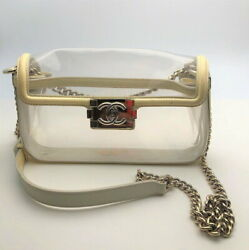 Used Vintage Coco Mark Cream Transparent Clear Chain Shoulder No.9417