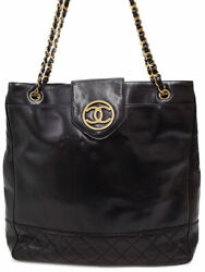 Gold Fittings Coco Mark Chain Tote Bag Women 's Week Warranty No.9505