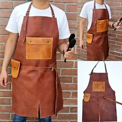 Leather Apron For Butcher Bbq, Grill, Kitchen, Woodwork, Barber Welding Walnut