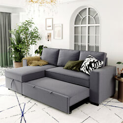 91.5 Convertible Sofa Bed Pull Out Futon Couch Sleeper Recliner With Storage Us