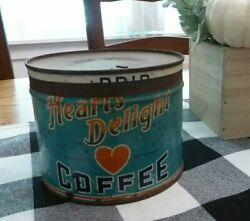 Vintage Heart's Delight Coffee Key Wind Tin Can Advertising Display Hard To Find