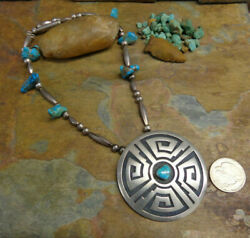 Rare Huge Marcus Coochwikvia Hopi Sterling Turquoise Necklace Native Old Pawn