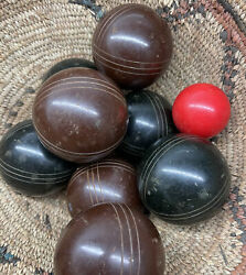 Vintage Bocce Ball Set Lawn Bowling Game Made In Italy 8 Balls And Jack - Rare