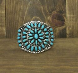 Large Southwest Sterling Silver And Turquoise Cluster Bracelet
