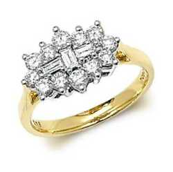 James Moore Th 9k Yellow Gold 1ct Diamond Cluster Ring Rd315