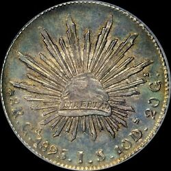 An Uber-mirrored Pcgs Ms63 1895 Gajs 8 Reale Mexico Top Pop Toned Cap And Ray