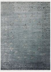 10 X 14 Hand Knotted Oushak Gray Wool Tribal Oriental Rug Carpet