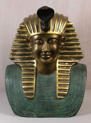 Early 20th Century Large 20kg Bronze Cast Bust Of Ancient Egyptian Royal +uraeus