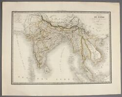 1829   India And South East Asia   By Lapie Large And Detailed Hand-coloured Map