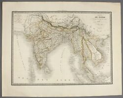 1829 | India And South East Asia | By Lapie Large And Detailed Hand-coloured Map