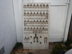 Rare Antique Electrical Fuse Panel Marble And 36 Copper Knife Switches Steampunk