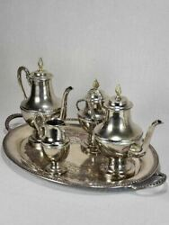 Vintage Tea And Coffee Service On Oval Tray - Silver Plate