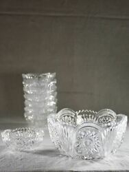 Fruit Salad Service - Large Bowl With Eight Serving Bowls - Cut Glass