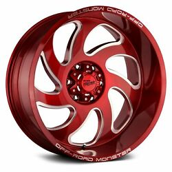 Off-road Monster M07 Wheels 24x12 -44, 8x165.1, 125.2 Red Rims Set Of 4