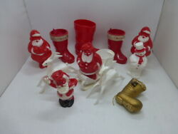 11 Vintage Christmas Rosbro Ornament Santa Reindeer Boot Candy Containers Lot