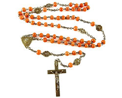 Vintage French Silver Rosary Orange Coral Beads Spacer Medals