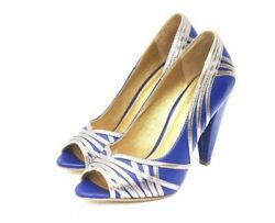 Seychelles Wild Card Blue Silver Leather High Heel Pumps Shoes 10 Anthropologie