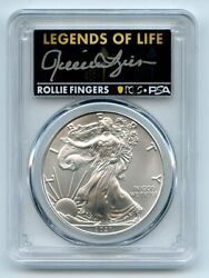 2021 P 1 Silver Eagle Emergency T1 Pcgs Ms70 Legends Of Life Rollie Fingers