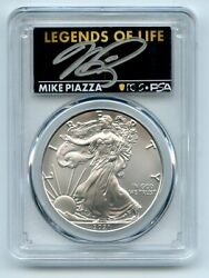 2021 P 1 Silver Eagle Emergency T1 Pcgs Psa Ms70 Legends Of Life Mike Piazza