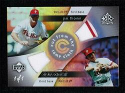 2005 Reflections Cut From The Same Cloth Platinum 1/1 Jim Thome Mike Schmidt Hof