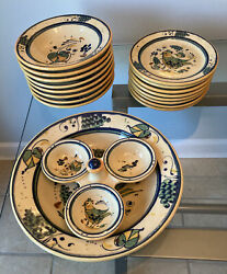 Williams-sonoma 18 Piece Set Made In Italy Ceramic Soup And Salad Dishes.