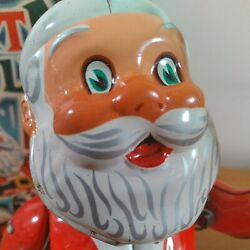 Vtg 1950s Nomira Tin Toy Windup Santa Ringing Bell Complete With Box Works Vgc