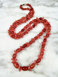 Antique Victorian Butterscotch Baltic Amber Oval Bead Red Coral 10k Necklace