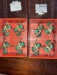 8 Lenox Holiday Holly Napkin Rings New In Box Two Sets Of Four