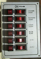 Boat Electrical Panel 6 Switches Lights Bilge Pump Aux 1 And 2