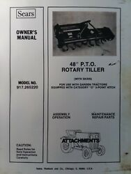 Sears Ff 18 20 24 Lawn Garden Tractor 48 Rear Rotary Tiller Owner And Parts Manual