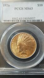 1926 Indian Head 10.00 Gold Eagle Pcgs Ms63