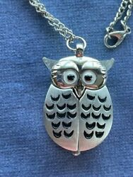 Owl Pendant With 30 Inch Chain Which Opens To Unveil A Little Watch Face