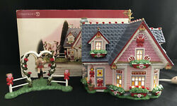 Dept 56 Snow Village Hearts And Blooms Cottage Set Of 2 55097 Valentine's Day