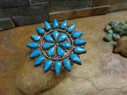 Navajo Zuni Sterling Turquoise Cluster Brooch Pin Pendant Old Pawn Fred Harvey