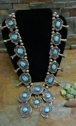 Huge 253g Navajo Sterling Bisbee Turquoise Squash Blossom Necklace Old Pawn