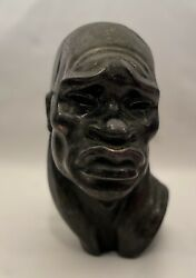 """Metal Sculpture African Heads By American Artist Fred Press Tribal Bust 8"""""""