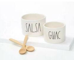 Rae Dunn Guac And Salsa Bowl Set With 2 Bamboo Spoons - New In Box