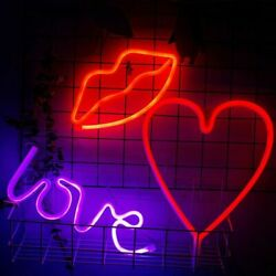 Neon Sign Led Night Light Battery Usb Charging Love Heart Party Valentines Day