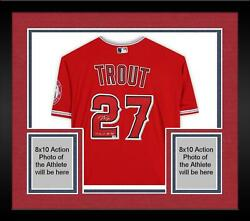 Frmd Mike Trout La Angels Signed Red Authentic Jersey And 14 16 19 Al Mvp Insc