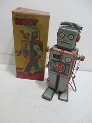 Easel Back Robot With Box Tin Wind Up By Linemar Made N Japan Tested Works