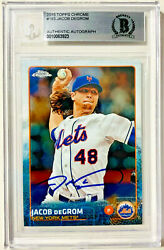 Jacob Degrom Autographed 2015 Topps Chrome 183 Card Beckett Bas Signed
